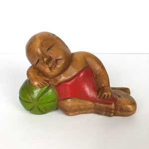 Vintage Hand Carved Wooden Baby with Ball Figure